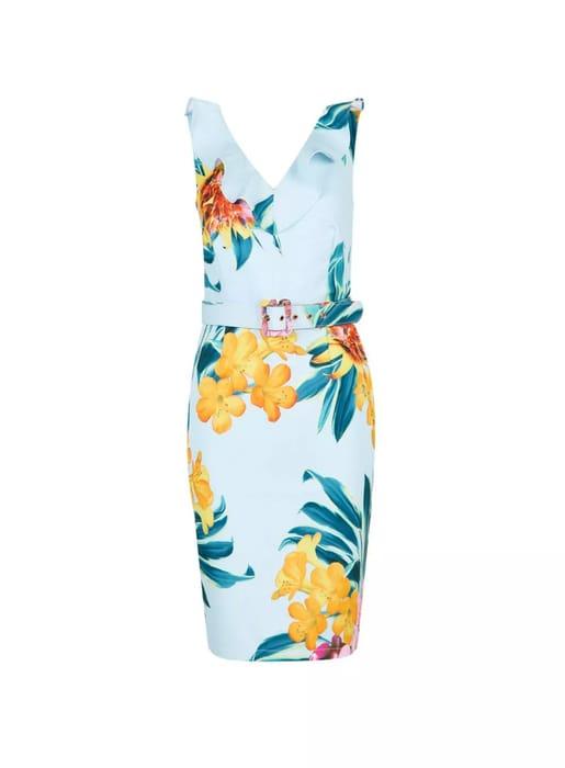 Showcase Blue 'Blake' Tropical Printed Belted Dress
