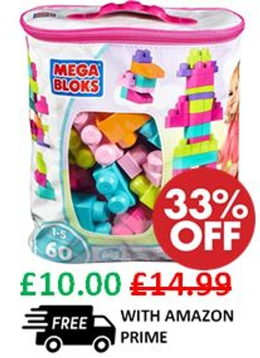 Special Offer - Mega Bloks Big Building Bag of 60 Blocks **4.8 STARS**