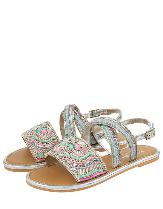 Allie Silver Beaded Sandals