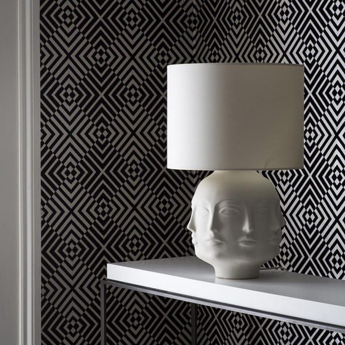 Barbara Hulanicki - Monochrome Flock the Hypnotist Geometric Wallpaper