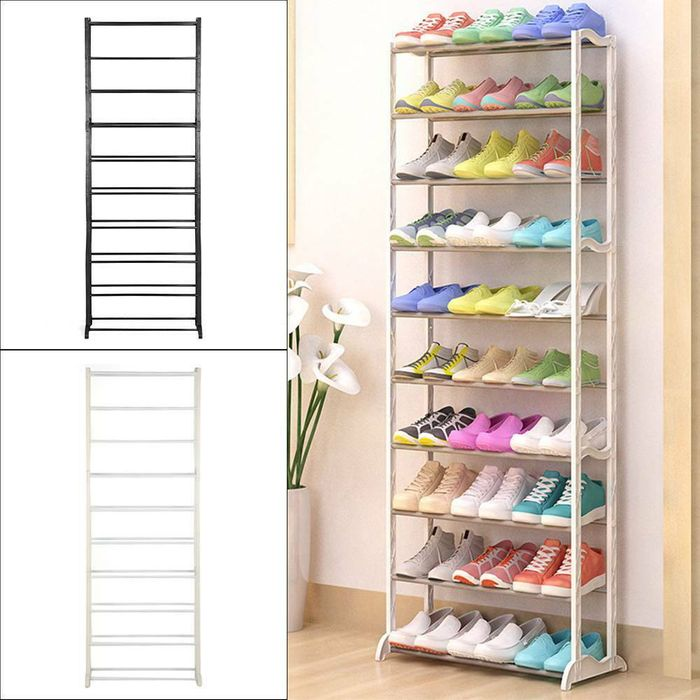 10 Tier Shoe Rack In Black Or White *Fast & Free P&P - Only £11.59!