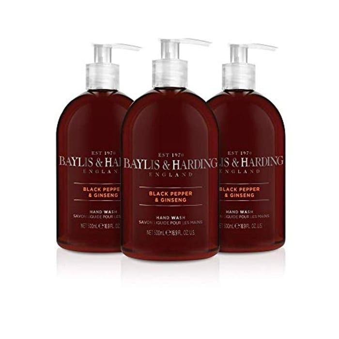 Baylis & Harding Black Pepper and Ginseng Hand Wash for Men, 500 Ml, Pack of 3
