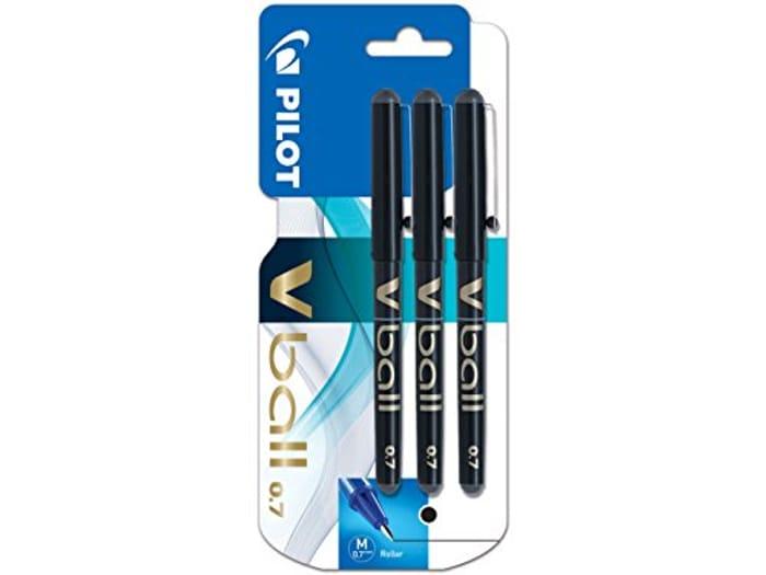 Pilot VBall 7 Rollerball Pen-Black (Pack of 3) at Amazon