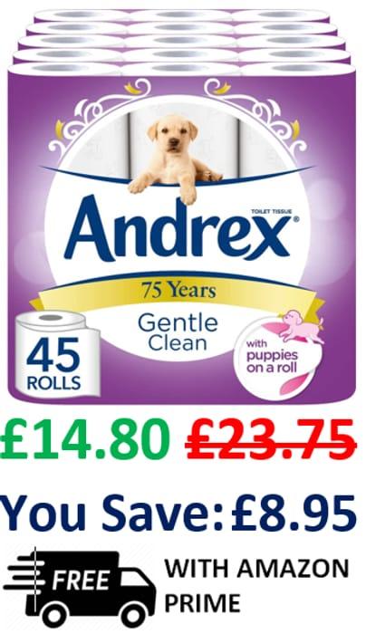 ANDREX TOILET ROLL DEAL! 45 Andrex Toilet Rolls