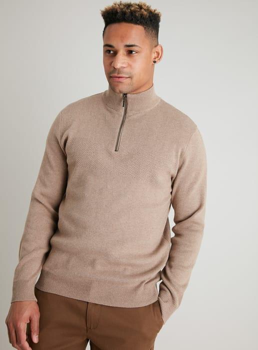 Light Brown Marl Half Zip Textured Jumper