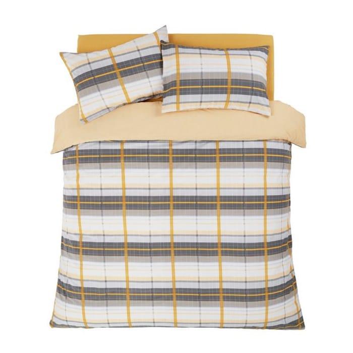 Argos Home Mustard and Grey Check Bedding Set - Kingsize