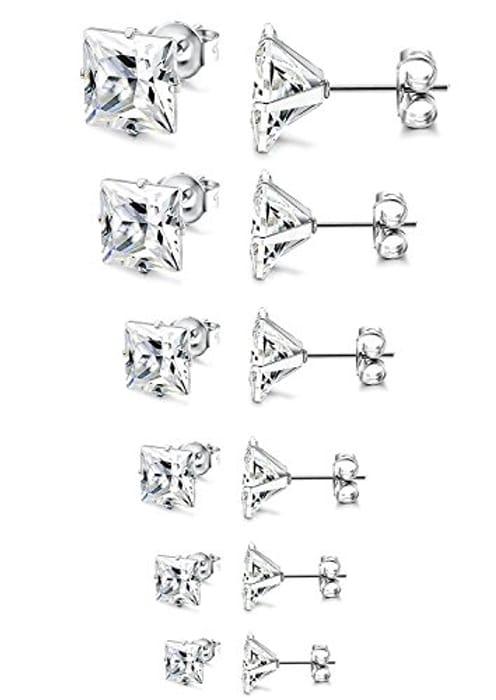 Stainless Steel Silver 6Pairs Cubic Zirconia Stud Earrings