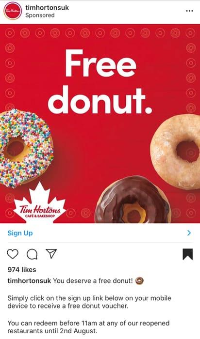 FREE Tim Hortons Doughnut
