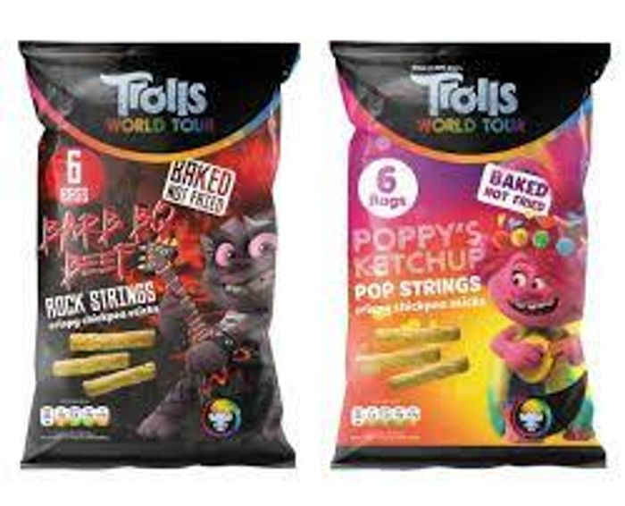 Trolls World Tour Vegan & Gluten Free Chickpea Sticks 43%off at Home Bargains
