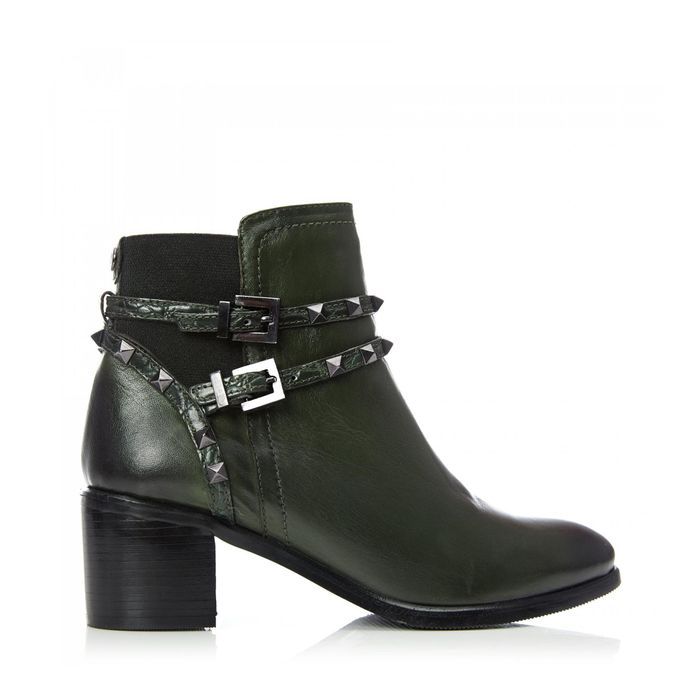 Moda in Pelle - Dark Green Leather 'Milli' mid Block Heel Ankle Boots