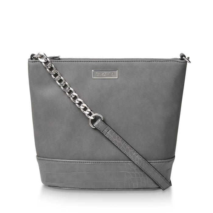 Carvela - Grey 'Rich Zip Top Chain Bucket Bag