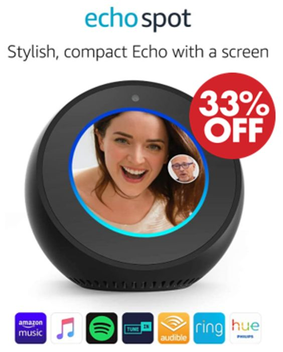 SAVE £40 - Amazon Echo Spot, Smart Alarm Clock with Alexa (Black or White)
