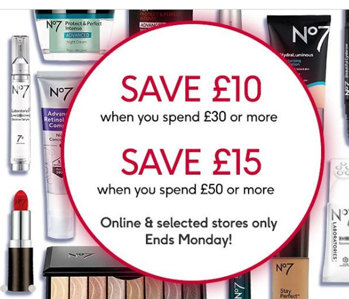 £10 off WYS £30 or save £15 WYS £50 or More on No7