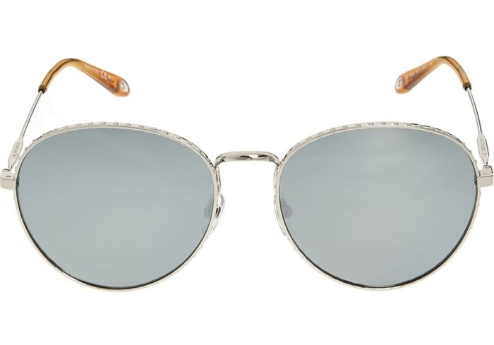 GIVENCHY Silver Tone round Aviator Sunglasses