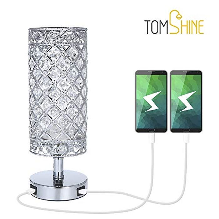 Crystal Bedside Table Lamp with Dual USB