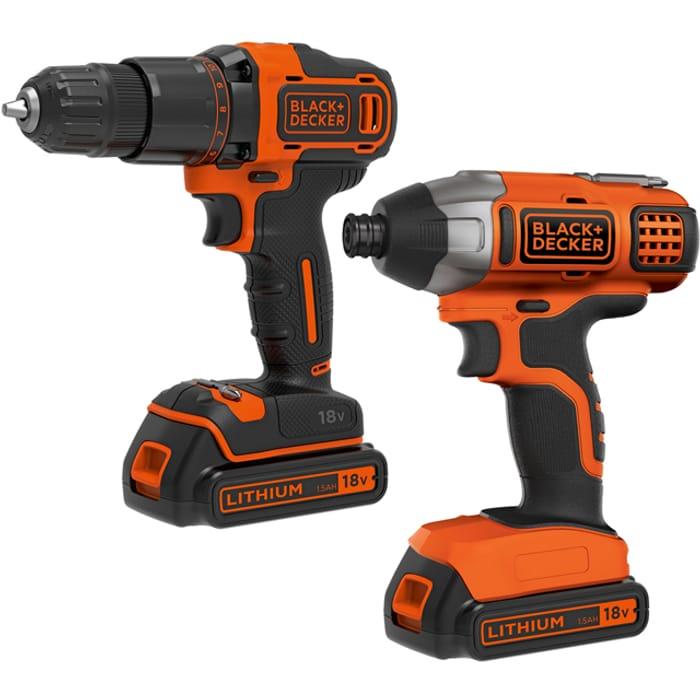 *SAVE £40* Black + Decker 18 Volt Cordless Drill & Driver Combi Bundle