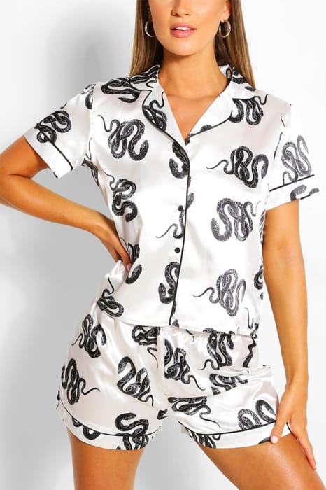 Snake Print Satin Pyjamas Set, Only £12.00!