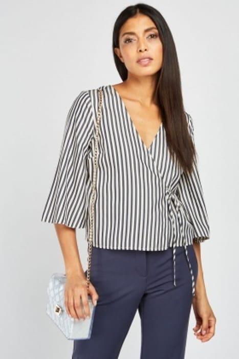 Flare Sleeve Stripe Wrap Top