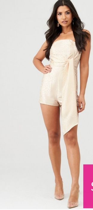 In the Style X Charlotte Crosby Leopard Jacquard Drape Detail Playsuit - Nude