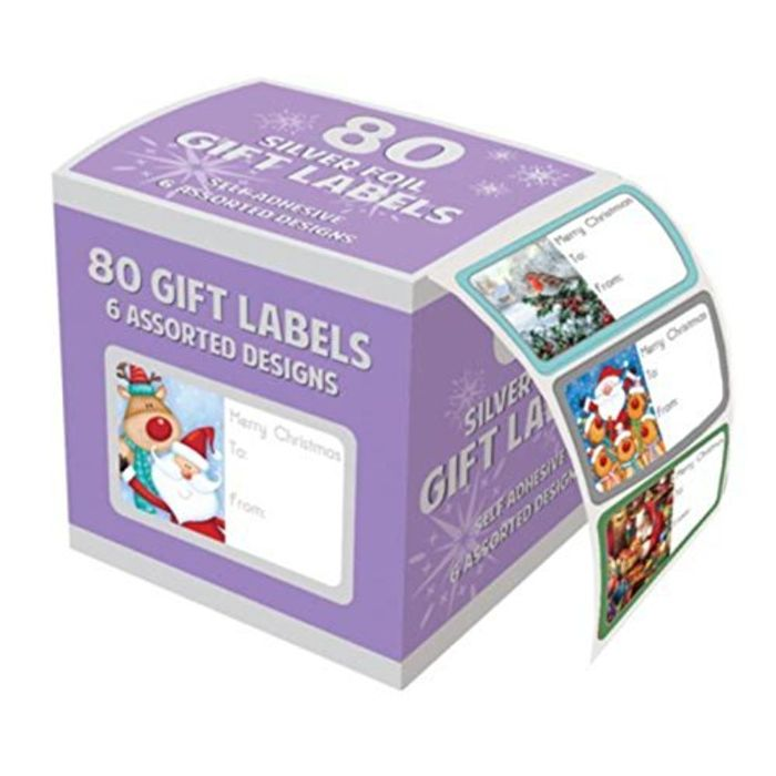 Tallon Christmas Collection Silver Foil Adhesive Label (Pack of 80)
