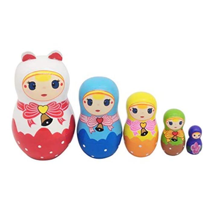 Healifty Wooden Matryoshka Russian Little Girl Nesting Doll 5 Layers