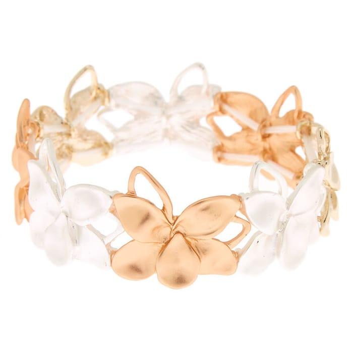Mixed Metal Flower Stretch Bracelet