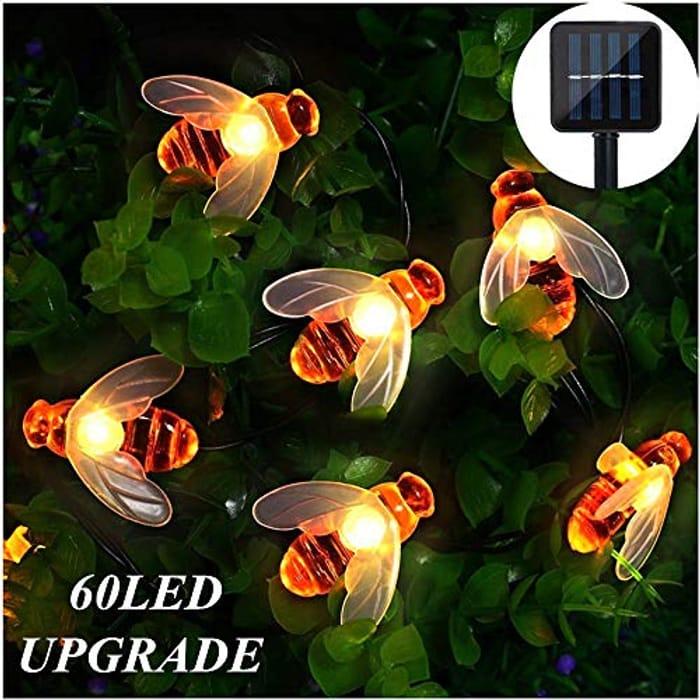 Solar Garden String Lights Outdoor 60 LED 33ft Honeybee Solar Lights Waterproof