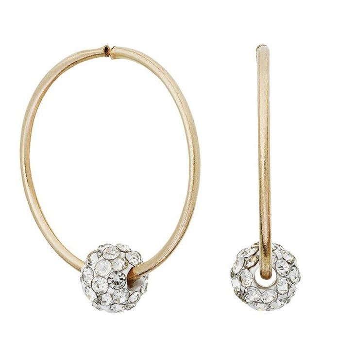 Revere 9ct Yellow Gold Crystal Hoop Earrings