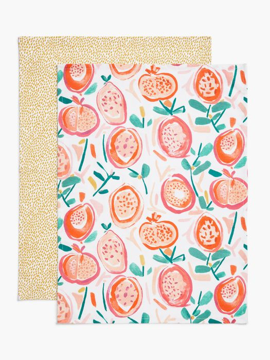 John Lewis & Partners Pomegranate Tea Towels, Pack of 2, Pink/Multi