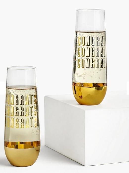 John Leiws & Partners Congrats Flute Glasses, 600ml, Set of 2