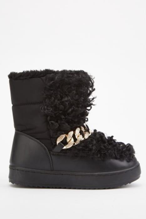 Mongolian Fur Chain Trim Winter Boots