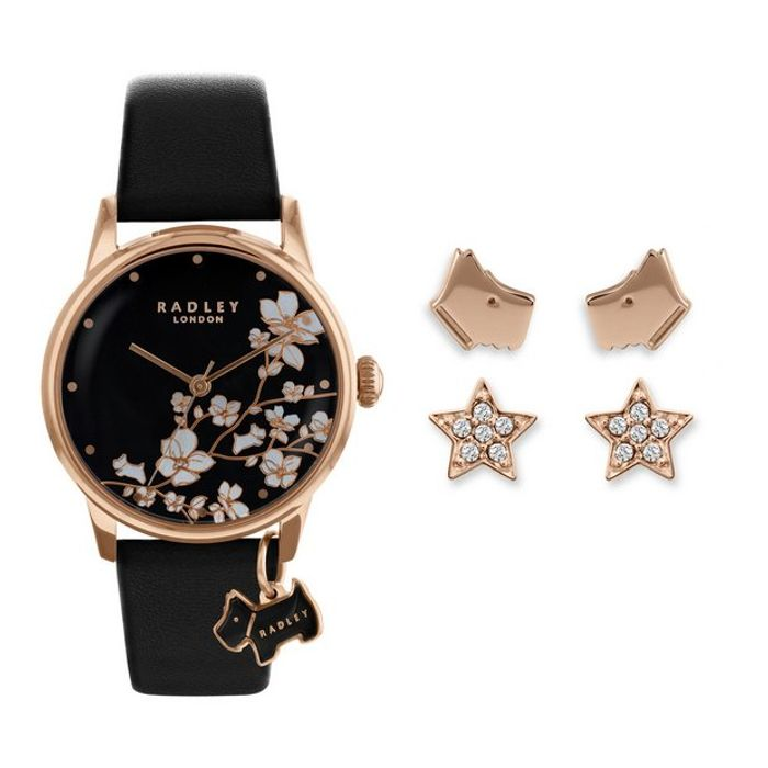 Cheap Radley Black Leather Strap Watch & Earrings Gift Set Only £59.99!