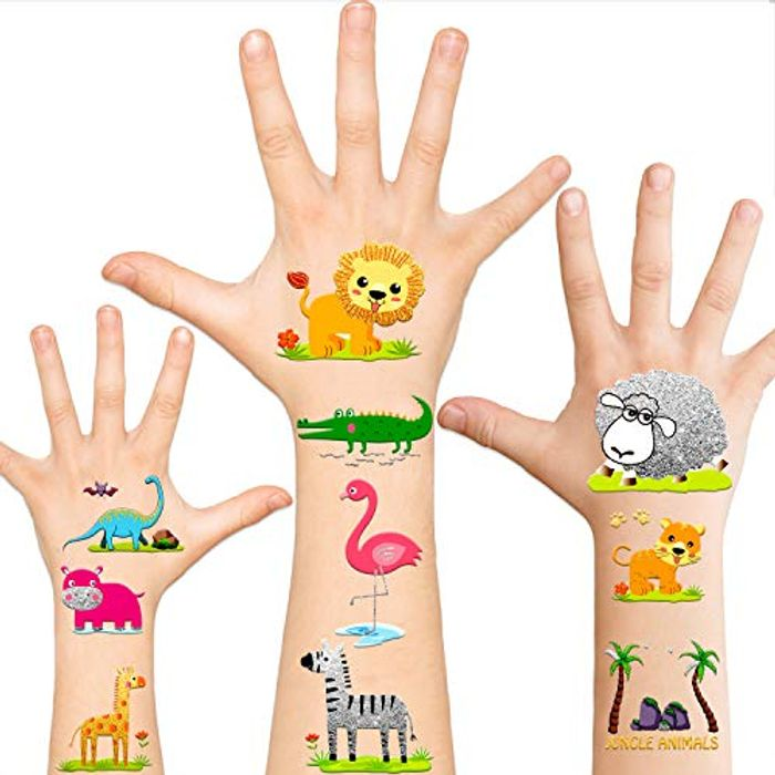 26PCS Kids Glitter Animal Tattoos for Jungle Party Decorations