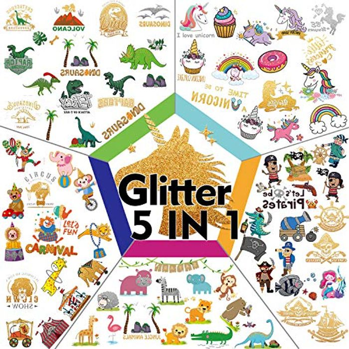 72 PCS Glitter Tattoos for Kids Include 5 Series