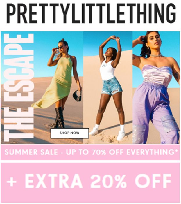 Special Offer - PRETTYLITTLETHING - 70% OFF + EXTRA 20% OFF