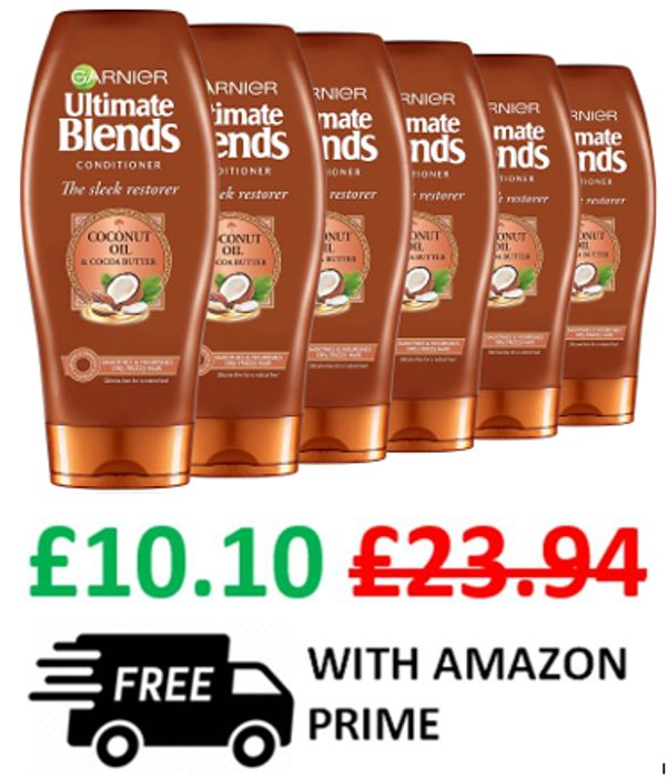 Garnier Ultimate Blends CONDITIONER W/ Coconut Oil & Cocoa Butter - 6 Pack