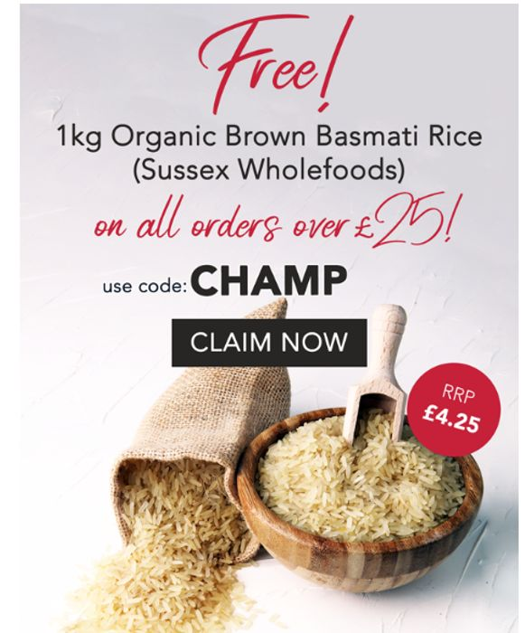 Free Brown Basmati Rice, Organic 1kg, With Orders Over £25
