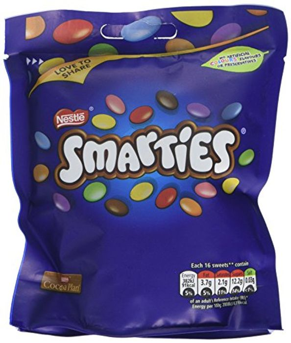 Smarties Chocolate Sharing Bag, 118 G (Pack of 8)
