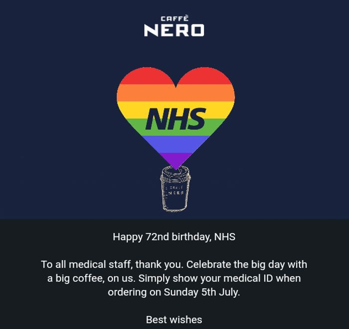 Free Large Coffee for NHS Staff on 5th July