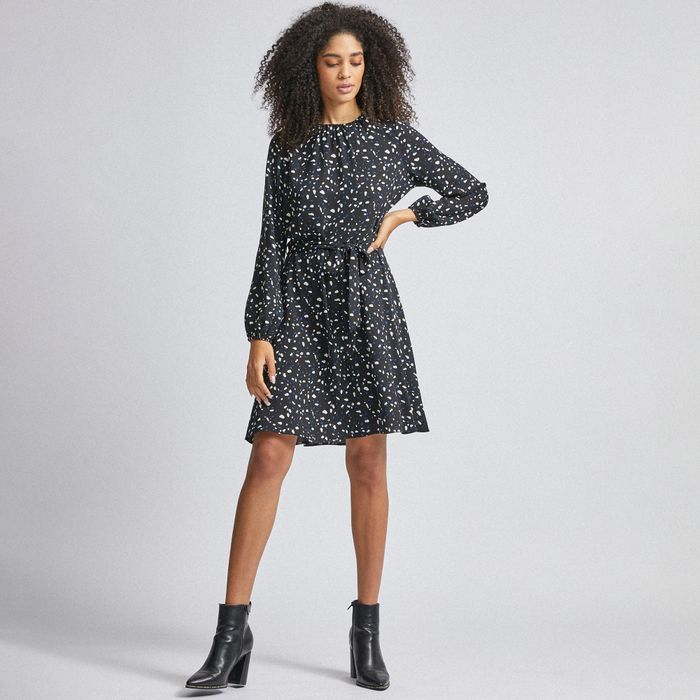 Dorothy Perkins - Black Abstract Print Pleat Neck Fit and Flare Dress