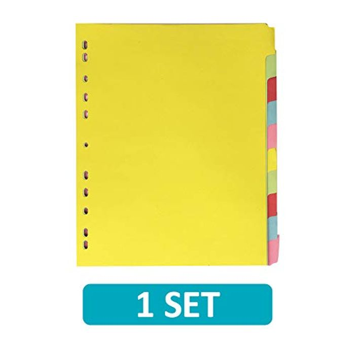 File Dividers A4, 10 Part, Extra Wide, Assorted, 1 Sets