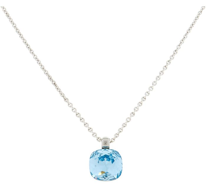 LOLA & GRACE Silver Tone Blue Crystal Necklace