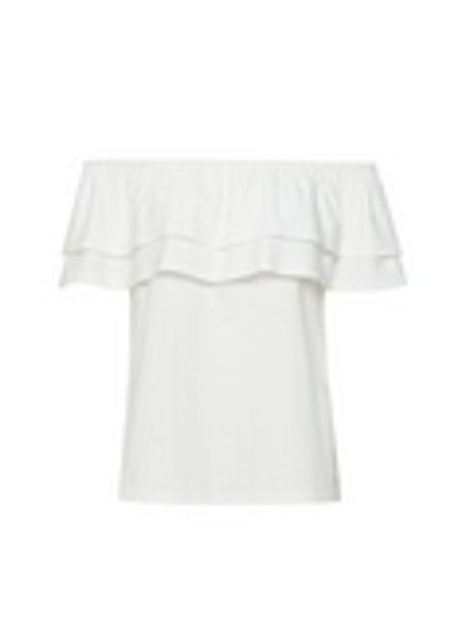 White Tiered Bardot Top