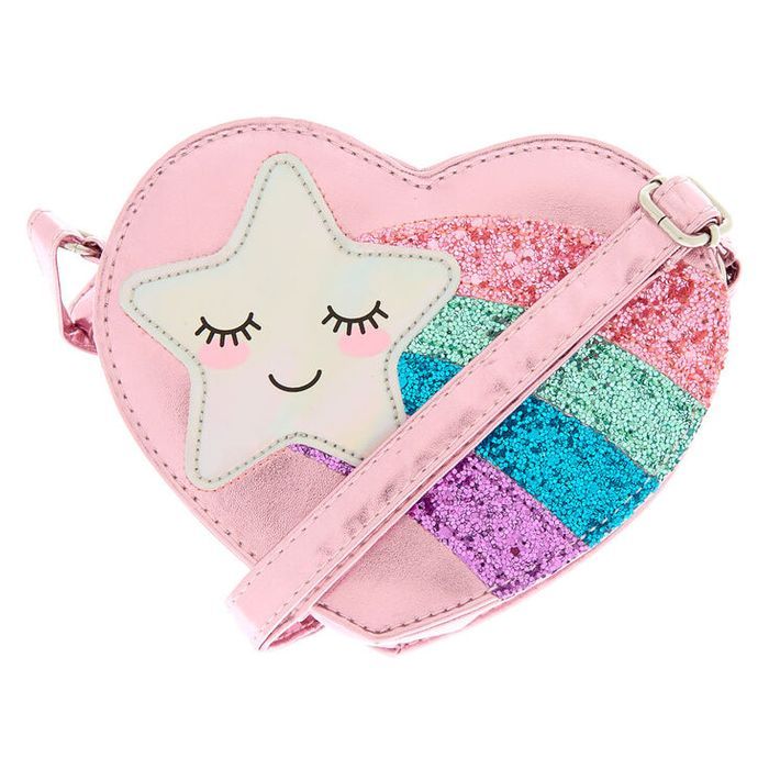 Claire's Club Shooting Star Crossbody Bag - Pink