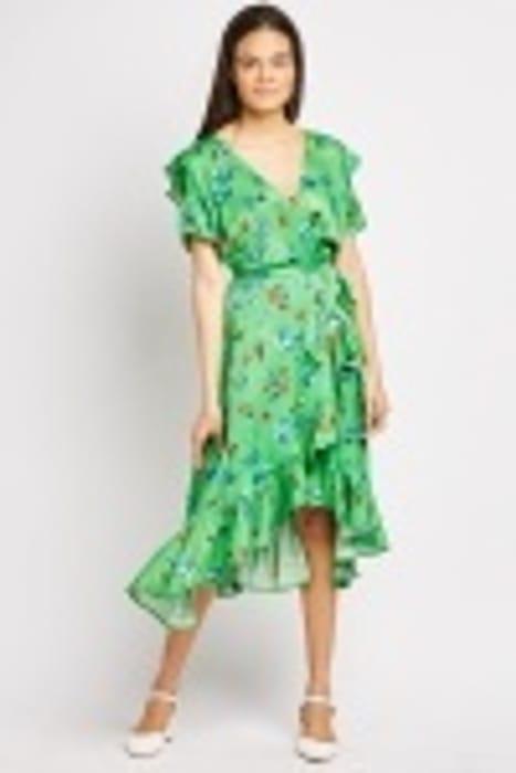 Floral Ruffle Wrap Dress