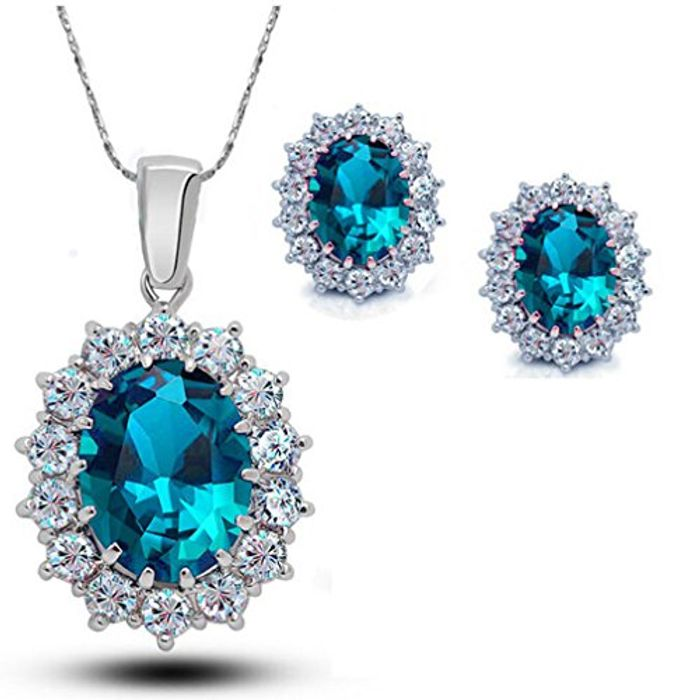 Fashion Silver Filled Blue Sapphire Crystal Christmas Jewelry Sets Snowflake