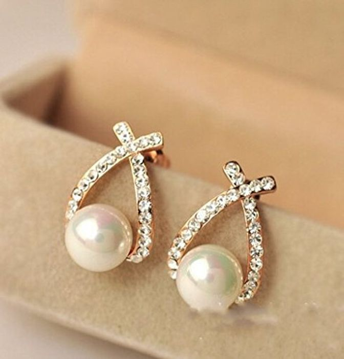 Gold Crystal Stud Earrings Pearl Earrings for Woman