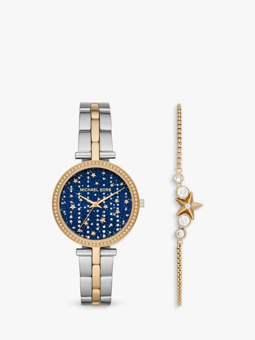 Half Price- Michael Kors Women's Maci Crystal Strap Watch and Bracelet Set