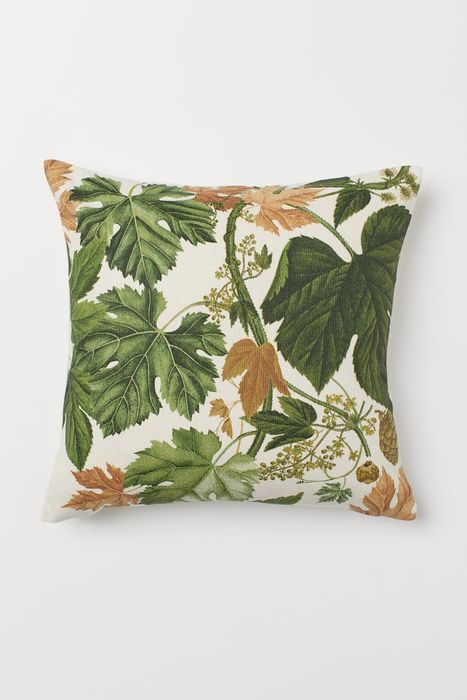 Natural White/Leaves Cotton Canvas Cushion Cover