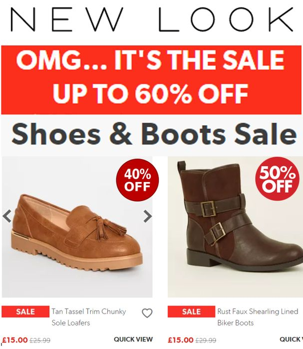 Up to 60% off SHOES, BOOTS & SANDALS - NEW LOOK SALE